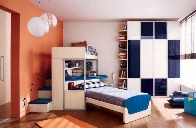 Ideen Fürs Jugendzimmer Jungen Zwei Betten Kleiderschrank Orange