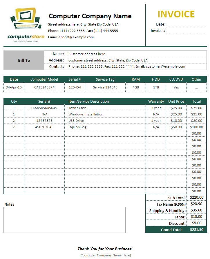 Computer Sales & Service Invoice Template | Bills, Invoices And