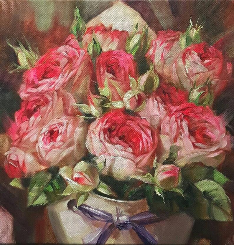Roses Painting Flowers Original Art Red Flowers Bouquet Oil Etsy In 2020 Rose Painting Flower Painting Original Canvas Art