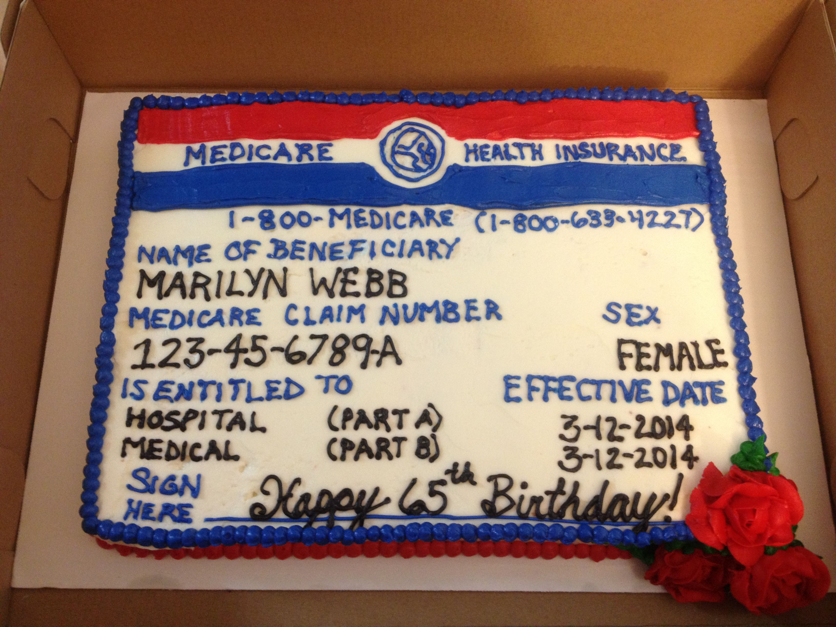 Medicare Card Cake Instead Of
