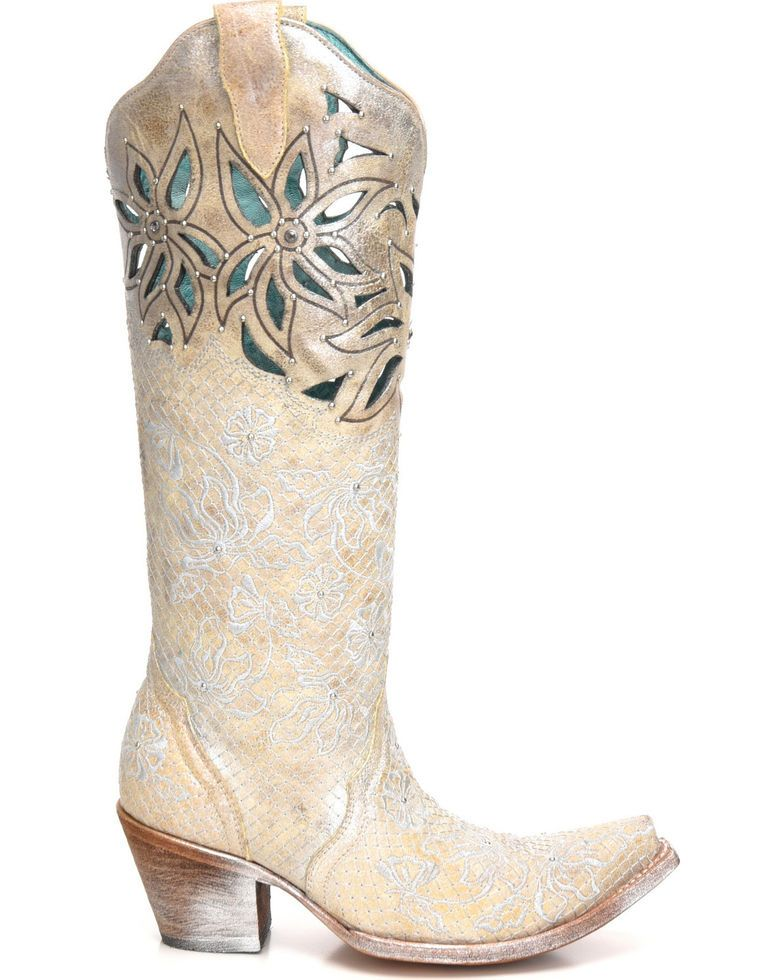 3300ffdf0e3 Corral Women s Metallic Cutout Embellished Cowgirl Boots - Snip Toe ...