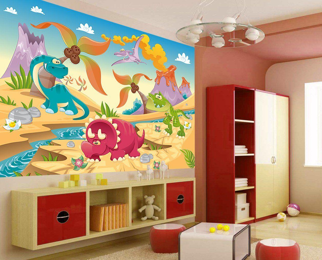 Fototapete Kinder Tapete DINO LAND | Kinderzimmer Dinosaurier Deko ...