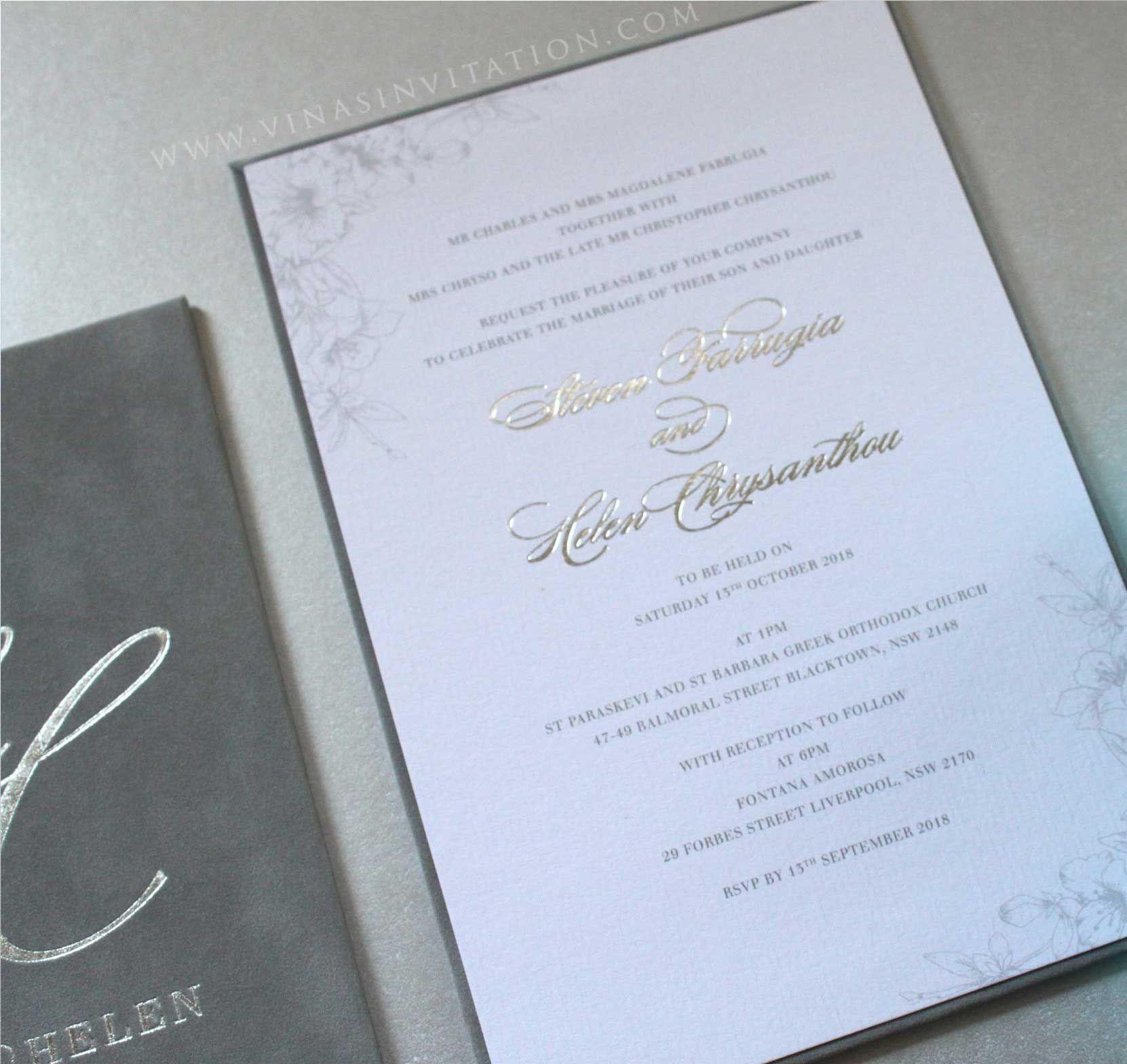 vinas invitation. suede finish invitation. sydney wedding