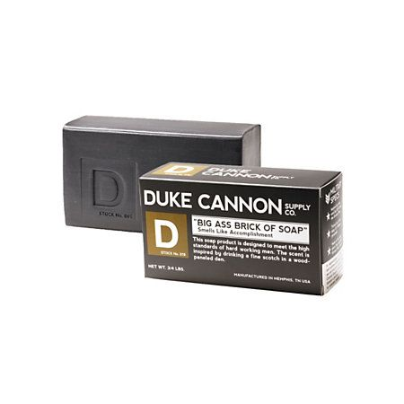 Our new favorite soaps come from Duke Cannon Supply Company. This 'Big Ass Brick of Soap' will outlast his other shower accessories. Plus, the packaging is totally on point which, lets face it, is very important.