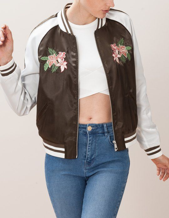 5fb5ca55cce At Stradivarius you ll find 1 Satin bomber jacket with embroidery detail  for woman for just 19.99 £ . Visit now to discover this and more CLOTHING.