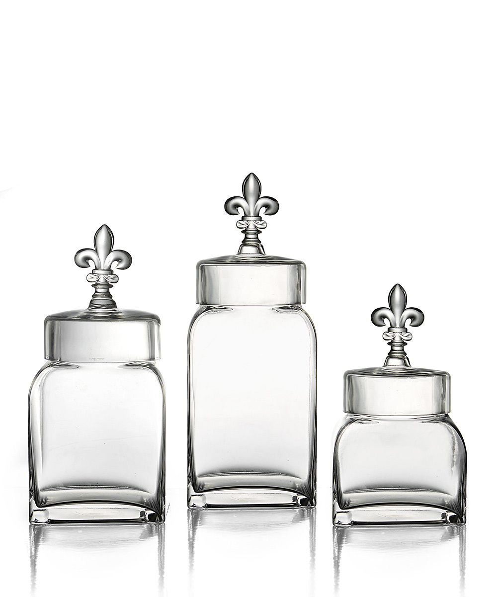 de lis canisters for the kitchen fleur de lis three piece canister set daily deals for