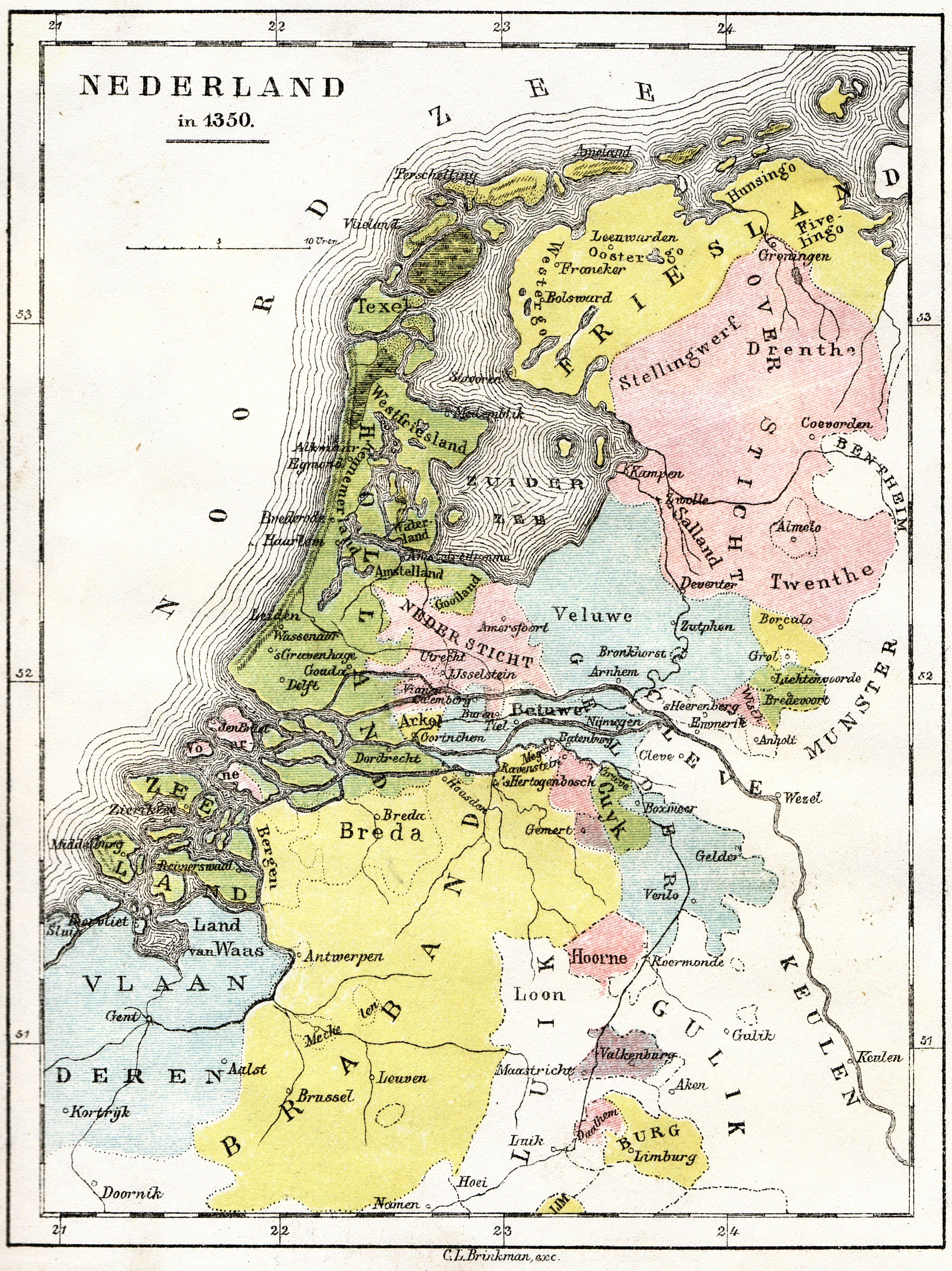 Cl Brinkman Nederland 1350 Maps Holland Map Netherlands