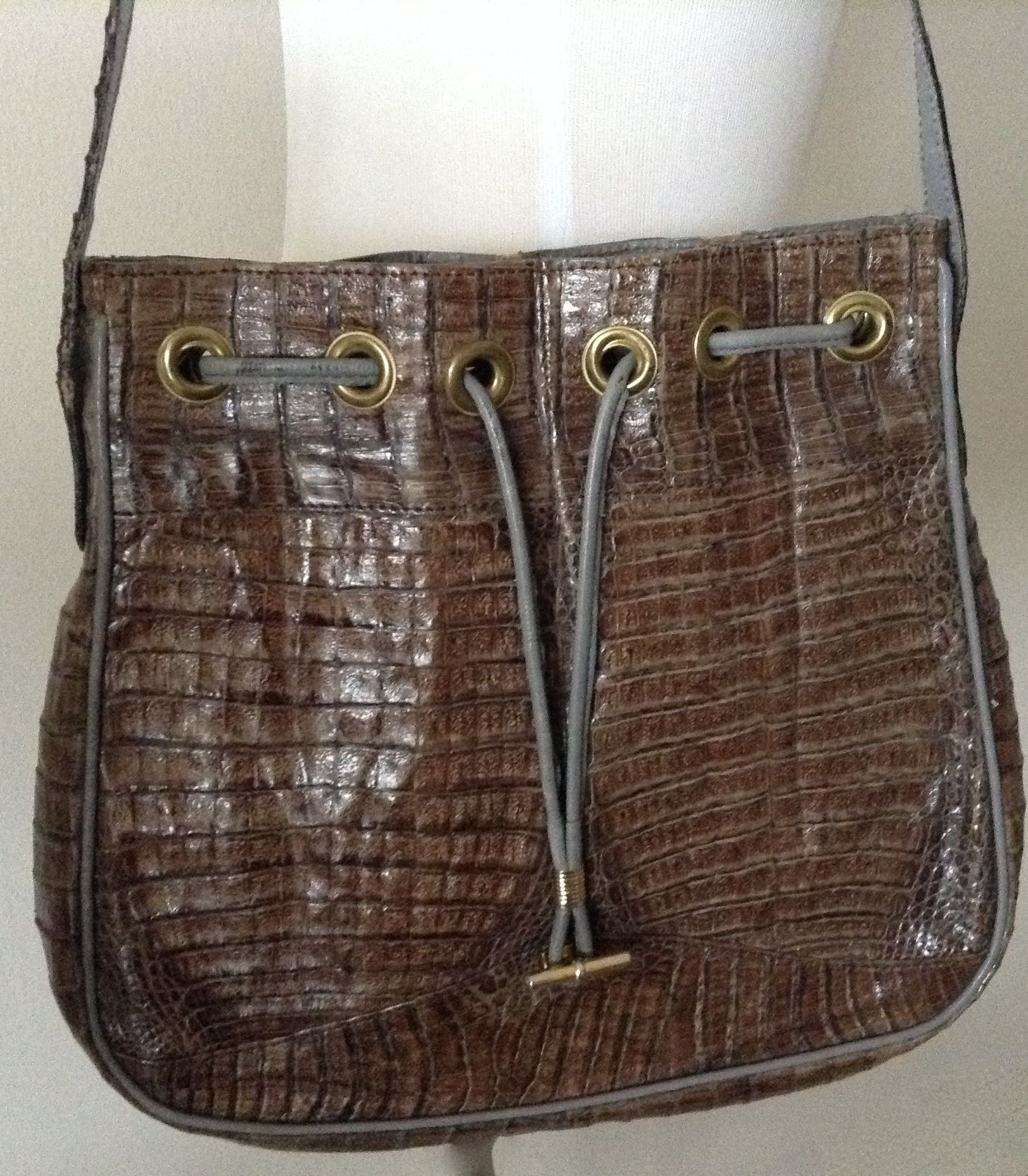 Vintage taupe  crocodile shoulder bag with gray leather trim.  For sale on eBay.