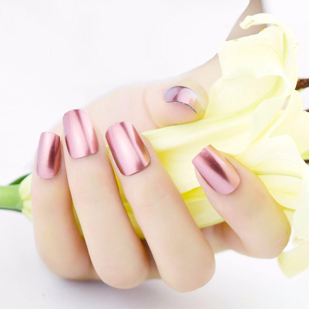 Honey Joy 1pc Pink Color Metallic Mirror Effect Soak Off Nail Polish ...