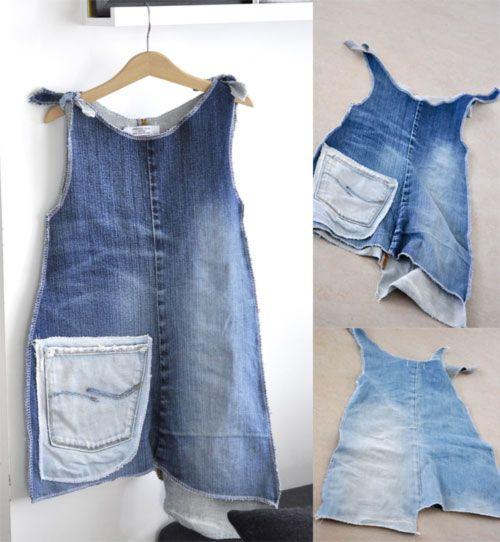 old jeans into dress Alte Jeans werden zum Kleid
