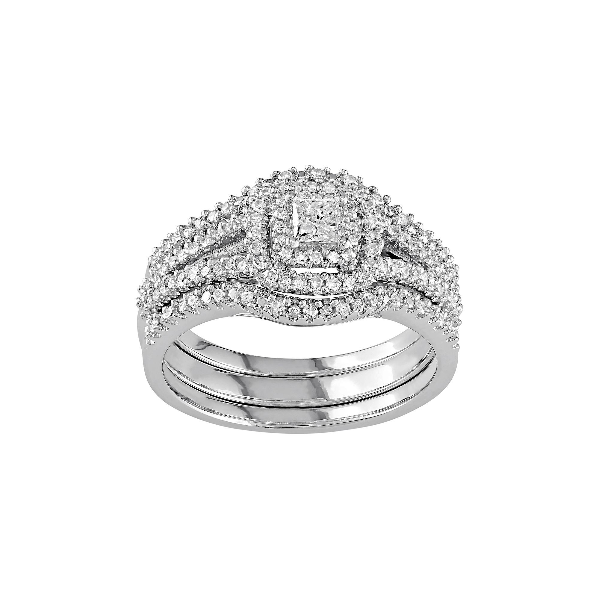 luxury band of square engagement and round rings diamond wedding inside ring