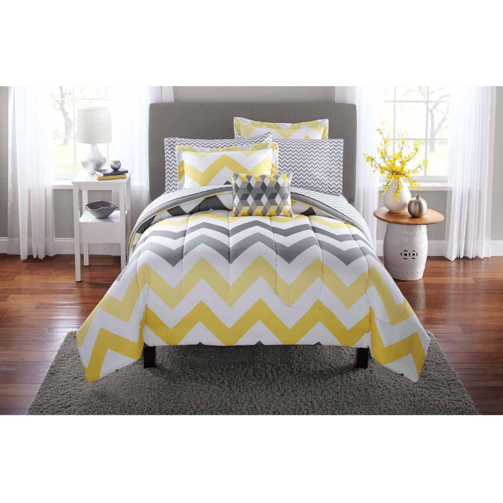 Mainstays Yellow Grey Chevron Bed in a Bag 6-Piece Bedding Comforter Set, Twin - Walmart.com #graybedroomwithpopofcolor