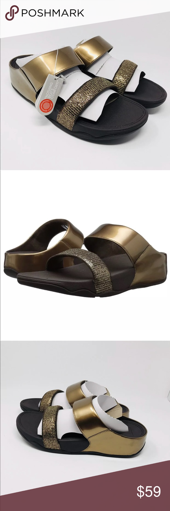 468a8d8b74f0 FitFlop Lulu Superglitz Slide Sandal Bronze 11 M New FitFlop Women s Lulu  Superglitz Slide Dress Sandal