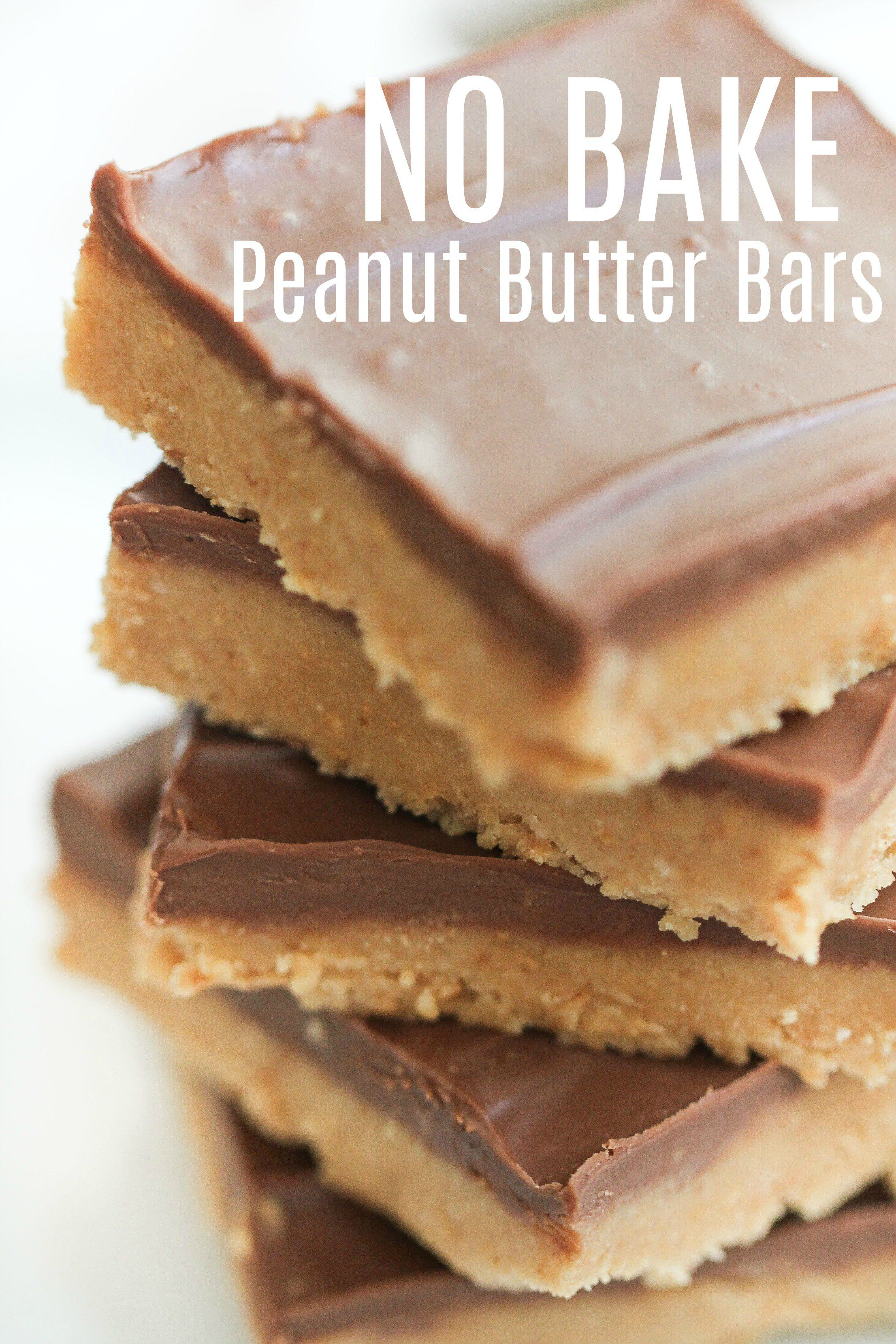 Easy No Bake Peanut Butter Bars Recipe  Six Sisters Stuff I love a good fast recipe that is pretty much failproof and turns out perfectly every time Its rare to come by b...