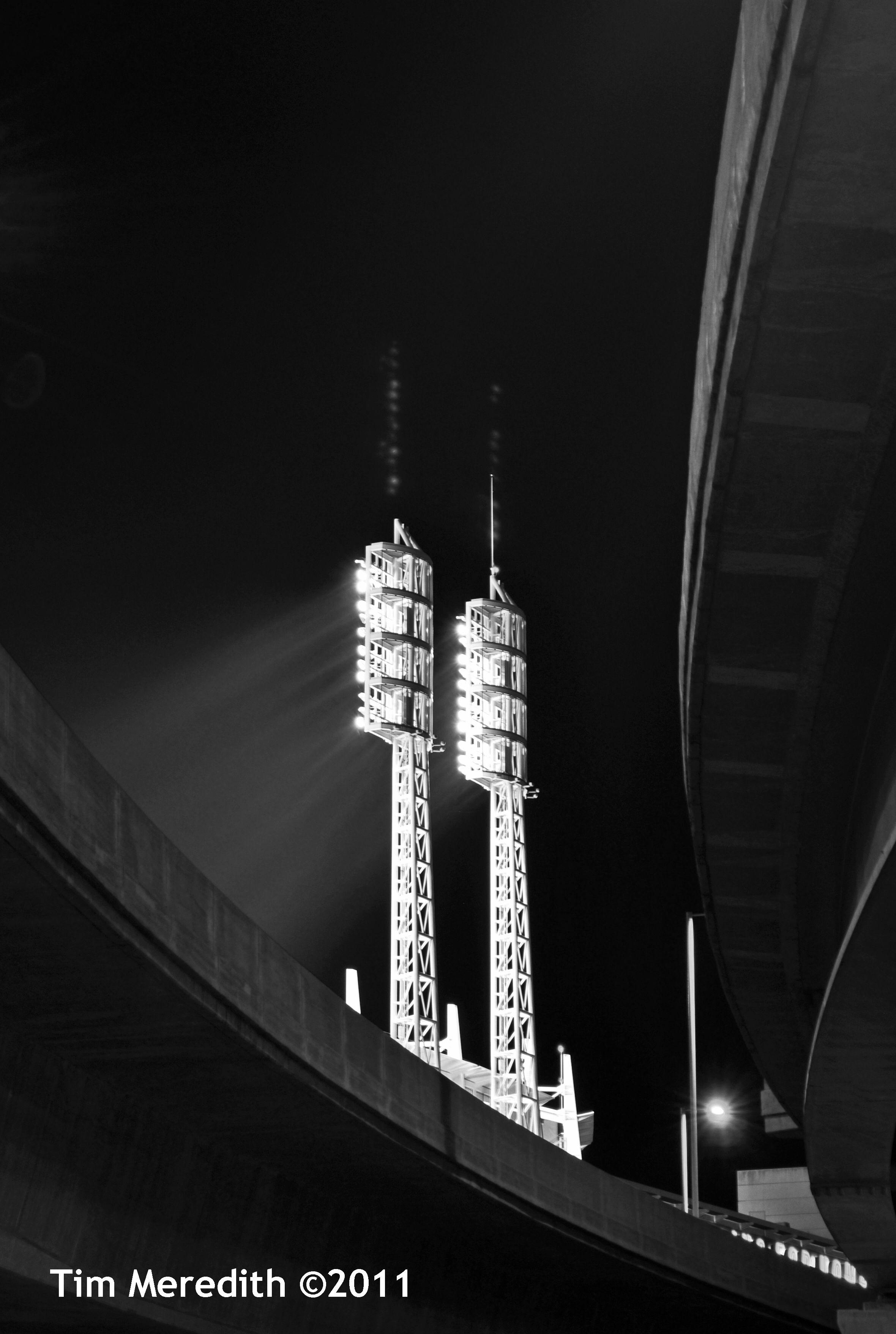 Light towers at Great American Ball Park, seen from below I-71,  Cincinnati, Ohio.   2011