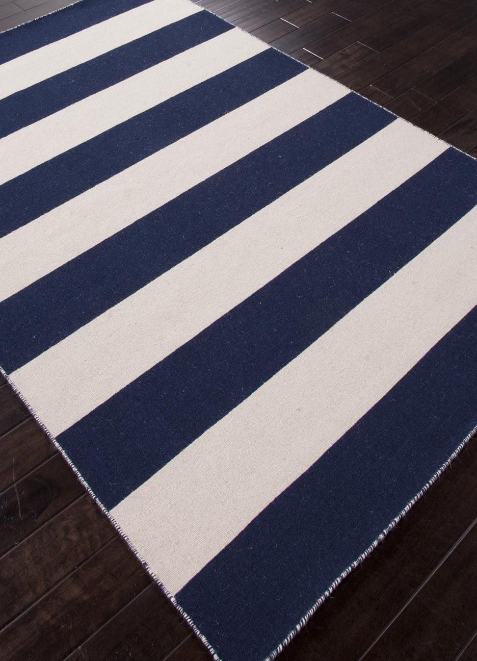 Tierra Collection From Jaipur Dark Blue And White Ice Striped Area Rug