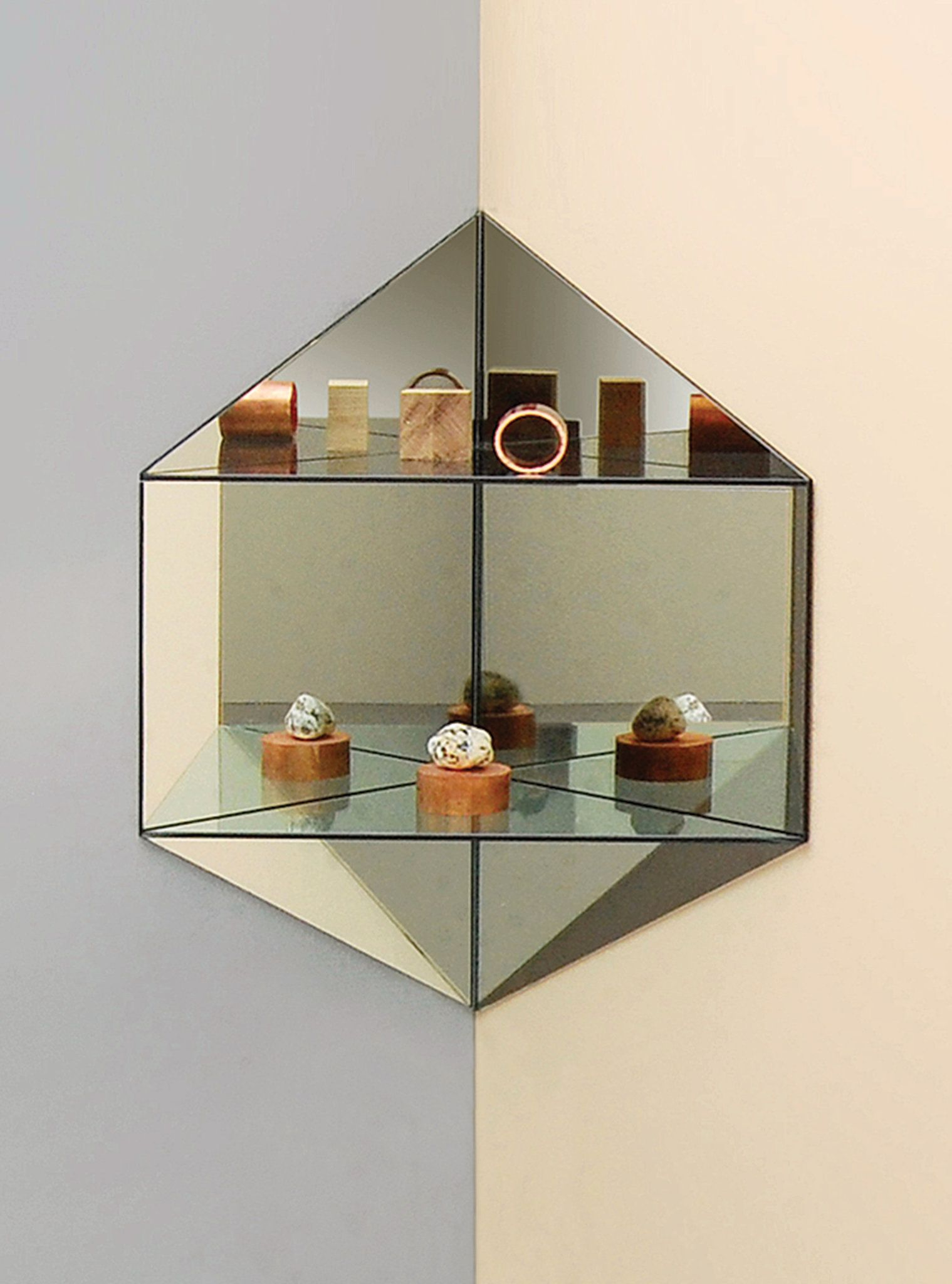 Four Impactful Design Objects For The Smallest Corners Corner Mirror Mirror Designs Mirror With Shelf