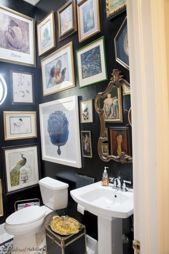 Art Gallery Bathroom From Boring To Beautiful Pinterest Addict Bathroom Gallery Wall Gallery Wall Decor Bathroom Gallery
