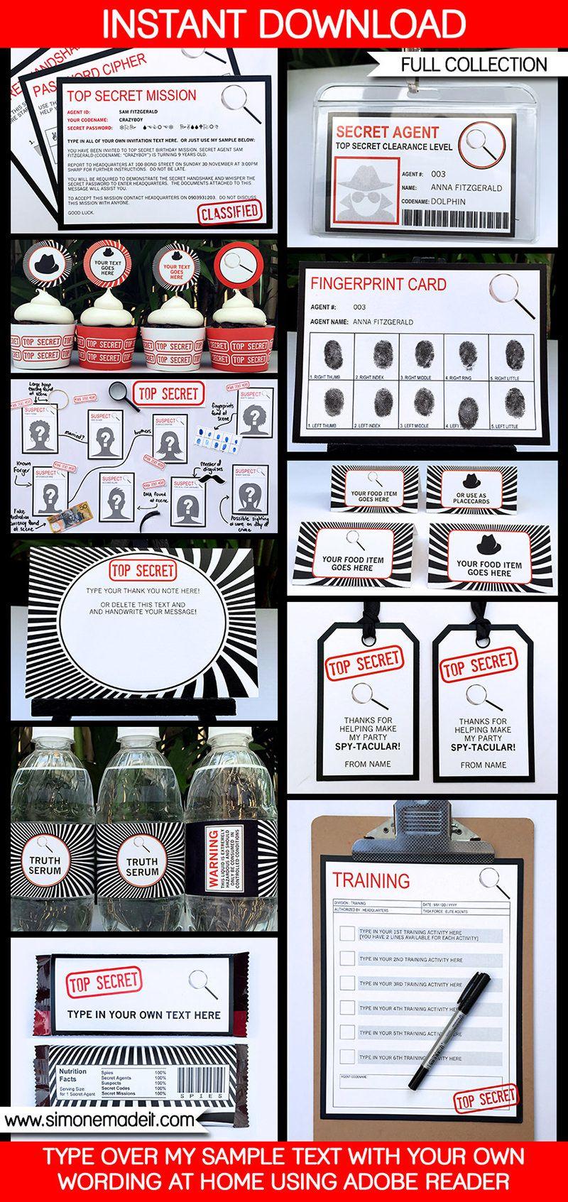 Spy Party Printables, Invitations & Decorations   Spy party ...
