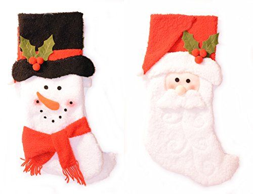 Darice Christmas Set of 2 Santa and Snowman Stockings 20 ** Read more  at the image link.