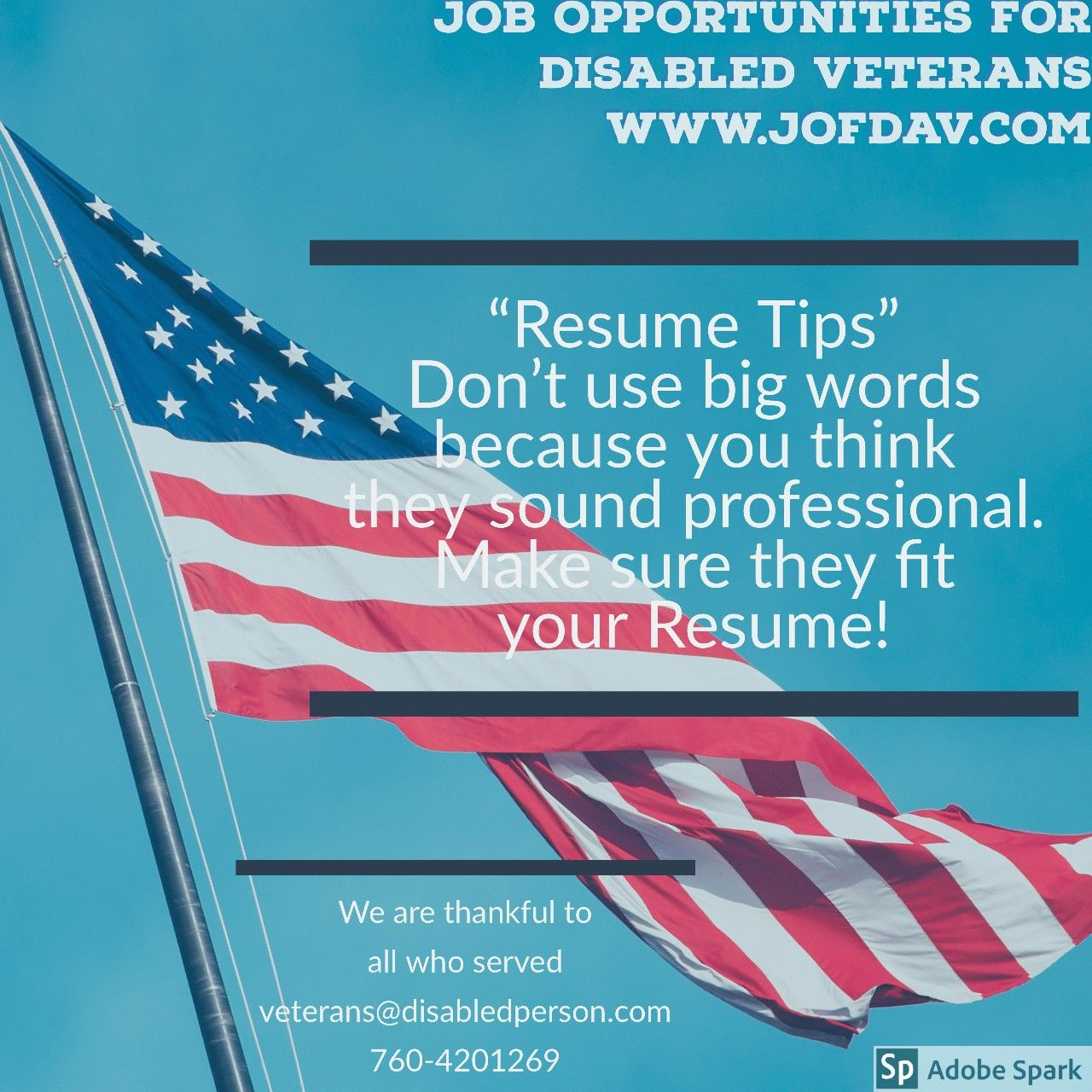 Job Opportunities For Disabled Veterans Www Jofdav Com Resume Tip