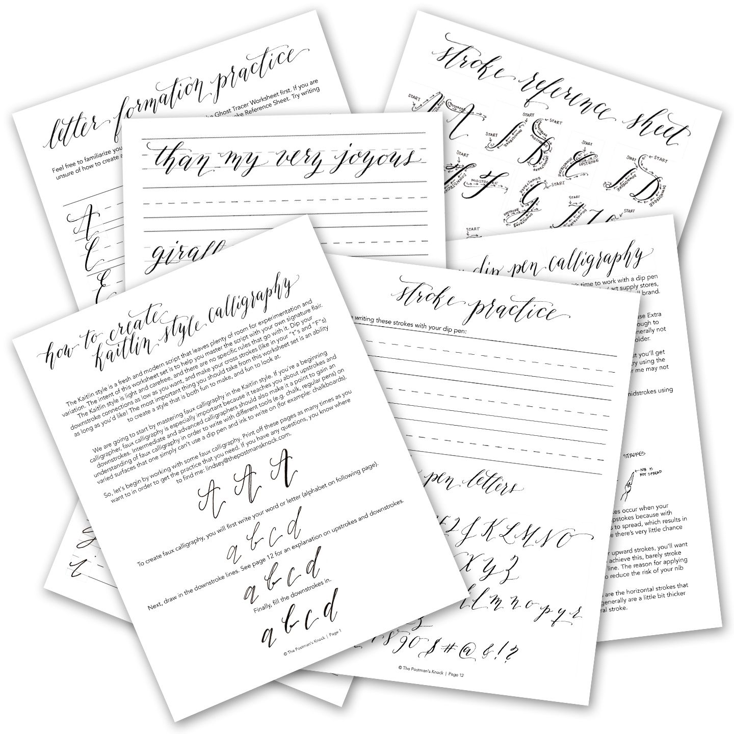 Printable Calligraphy Worksheet Set
