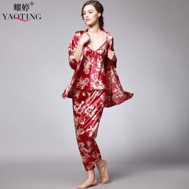 b411a12440 ... 3 Pcs Robe Pajama Pants Sets new Fashion Ladies Sleep Lounge Dragon  Print Night Shirt Female  Summer Silk Satin ...