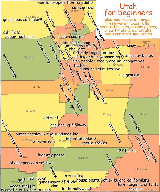 Utah map for beginners. Salt Lake City, St. George, Cedar ...
