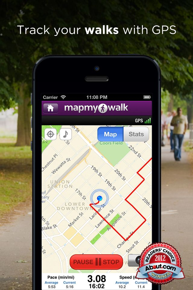 Walk with Map My Walk+ GPS Pedometer for Walking