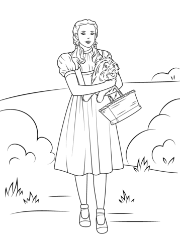 Dorothy Holding Toto Coloring Page Witch Coloring Pages Lion Coloring Pages Wizard Of Oz Characters