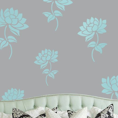 Lotus Flower Art Stencil Floral Home Decor Stencils Painting Wall Decorative Paint Anywhere By IdealStencils On Etsy