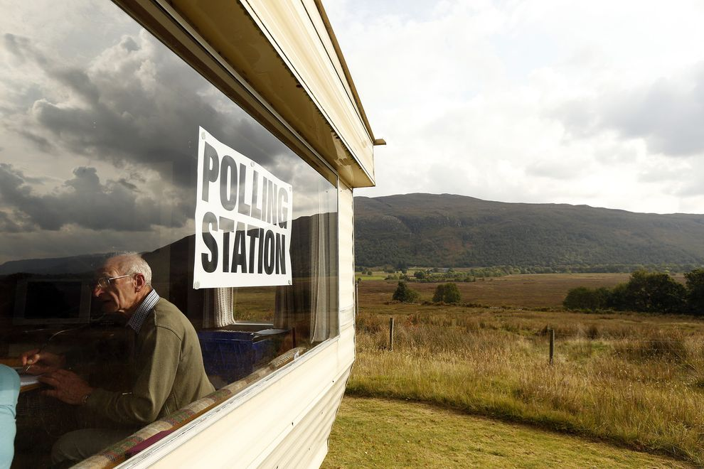 More than four million Scots, 97 percent of the population, registered to vote, and the turnout on polling day was above 85 percent. In Record Turnout Demographics Shape Scotland's Emphatic No Vote, National Geographic.  PHOTOGRAPH BY CATHAL MCNAUGHTON, REUTERS