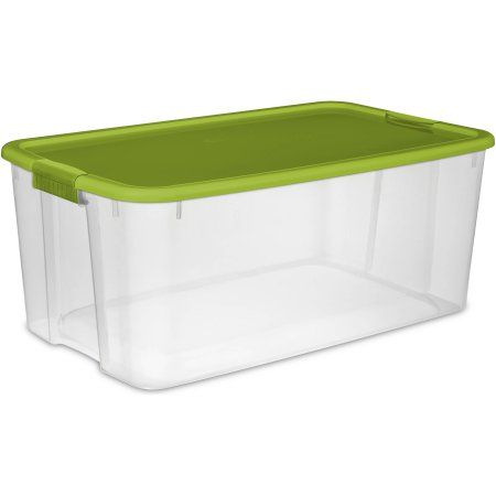 Sterilite 29 Gallon Spicy Lime Ez Carry Ultra Storage Box 2 Piece Clear Sterilite Storage Storage Box