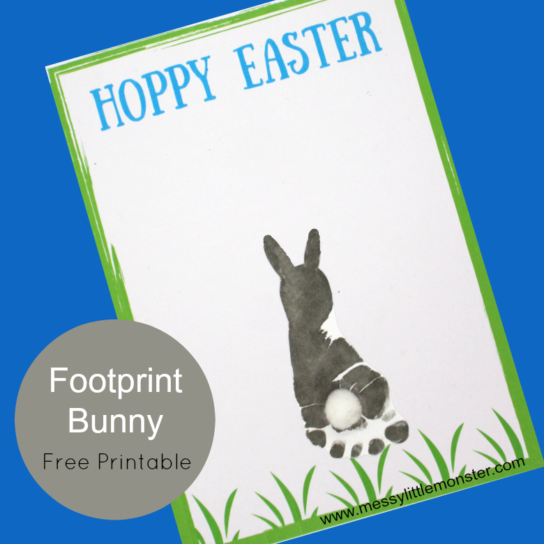 Footprint Easter Bunny Card Easter Cards Printable Easter Lessons Easter Kids