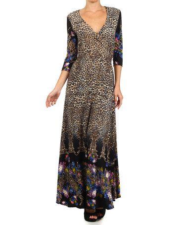 This Blue Floral Leopard Empire Waist Maxi Dress is perfect! #zulilyfinds
