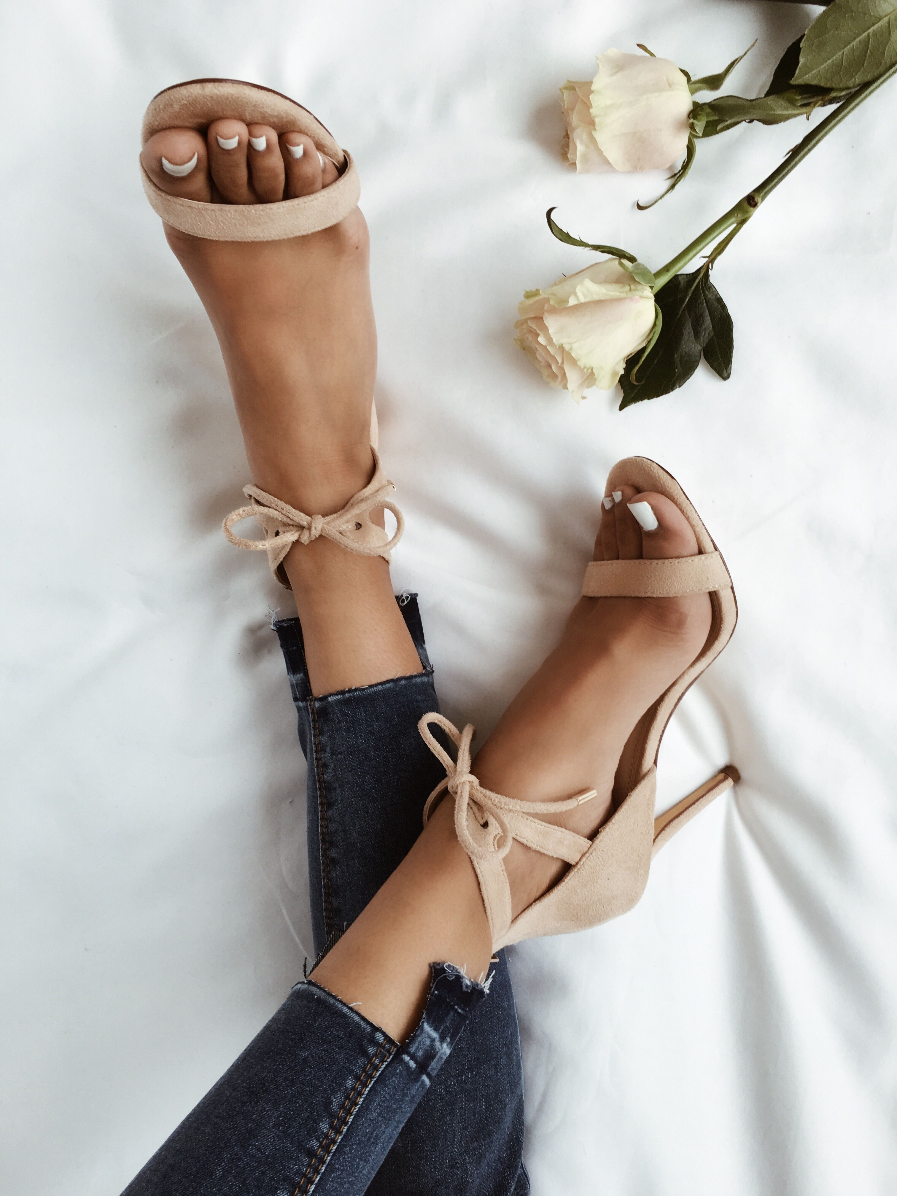 e4d3b5a6b04 Kate Nude Suede Ankle Strap Heels