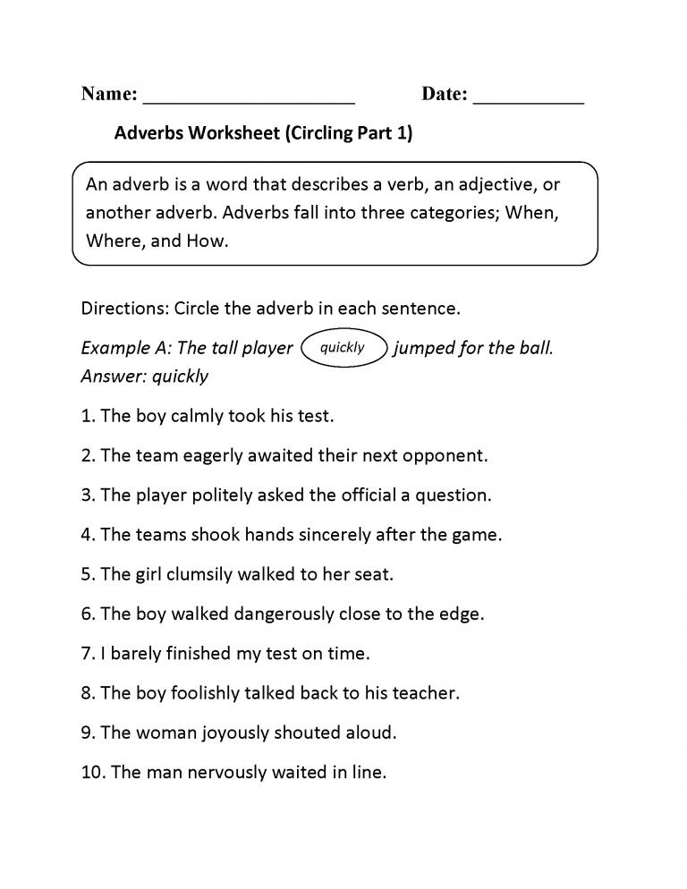 4th Grade Worksheets Adverbs worksheet, 4th grade