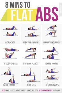 8 Minute Abs Workout Poster for Women. #AbsWorkout #exercise #fitness #LumpOnThighUnderSkin