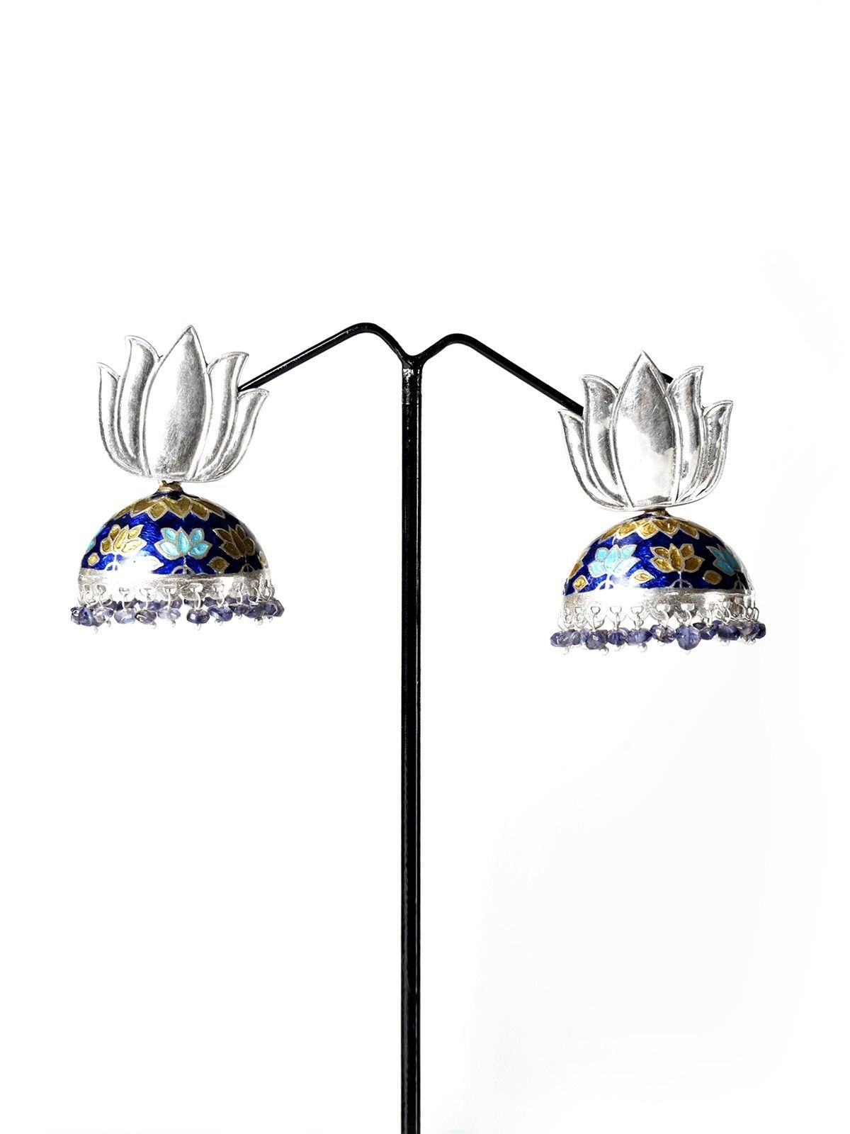 Blooming lotus designs women s - Lotus Designs On The Jhumkas These Ornate Earrings Give A Perfect Finishing Touch To Your