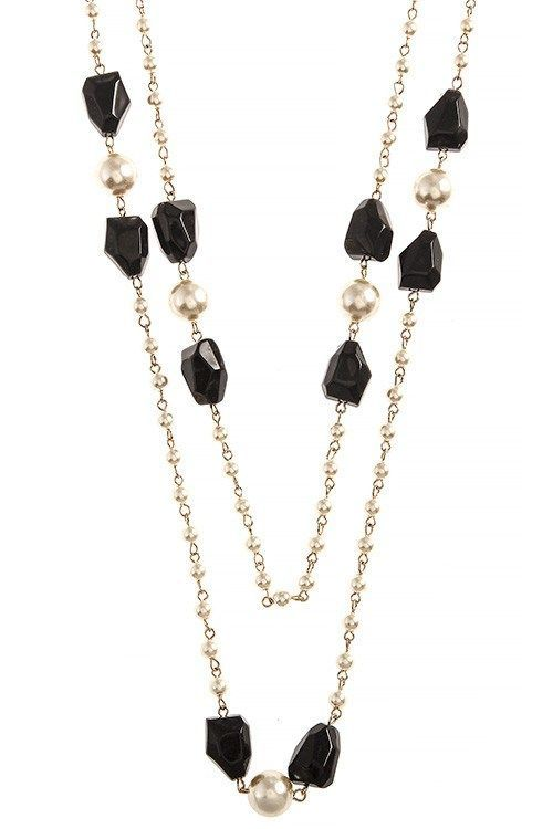 FAUX PEARL MIXED BEADED LONG NECKLACE SET