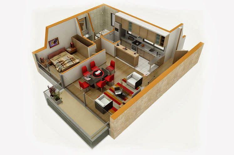 Departamentos pequeños, planos y diseño en 3D Basement kitchenette