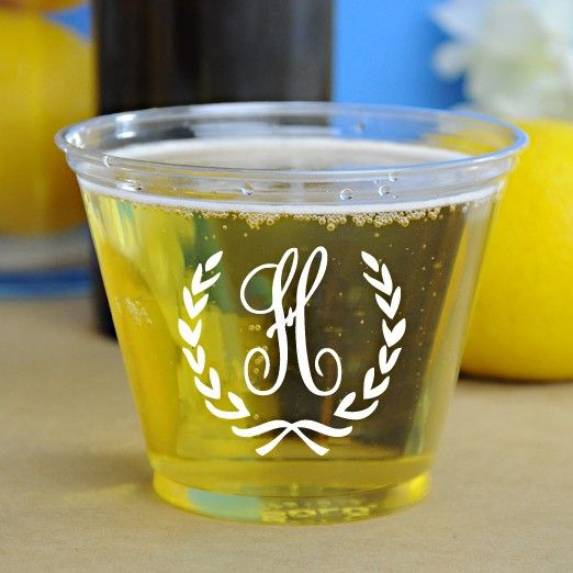 Clear Personalized Plastic Disposable Solo Cups Printed With White Imprint Color And Monogram Format B 15 Using Flemish Lettering Style