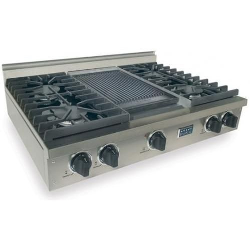 Fivestar 36 Inch 4 Burner All Gas Cooktop With Griddle Stainless Steel Cooktop Range Top Kitchen Base Cabinets