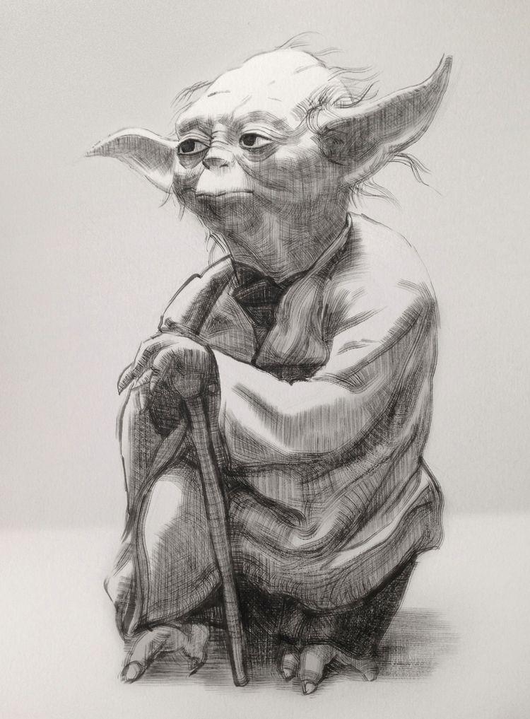 Portrait of Yoda in Star Wars