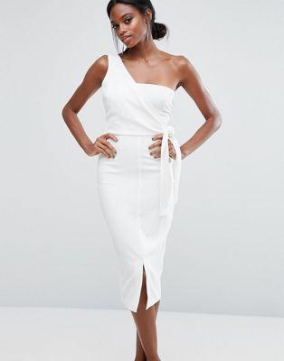 34dd0a626c9a Lavish Alice One Shoulder Pencil Dress With Tie Detail | Bridesmaids ...