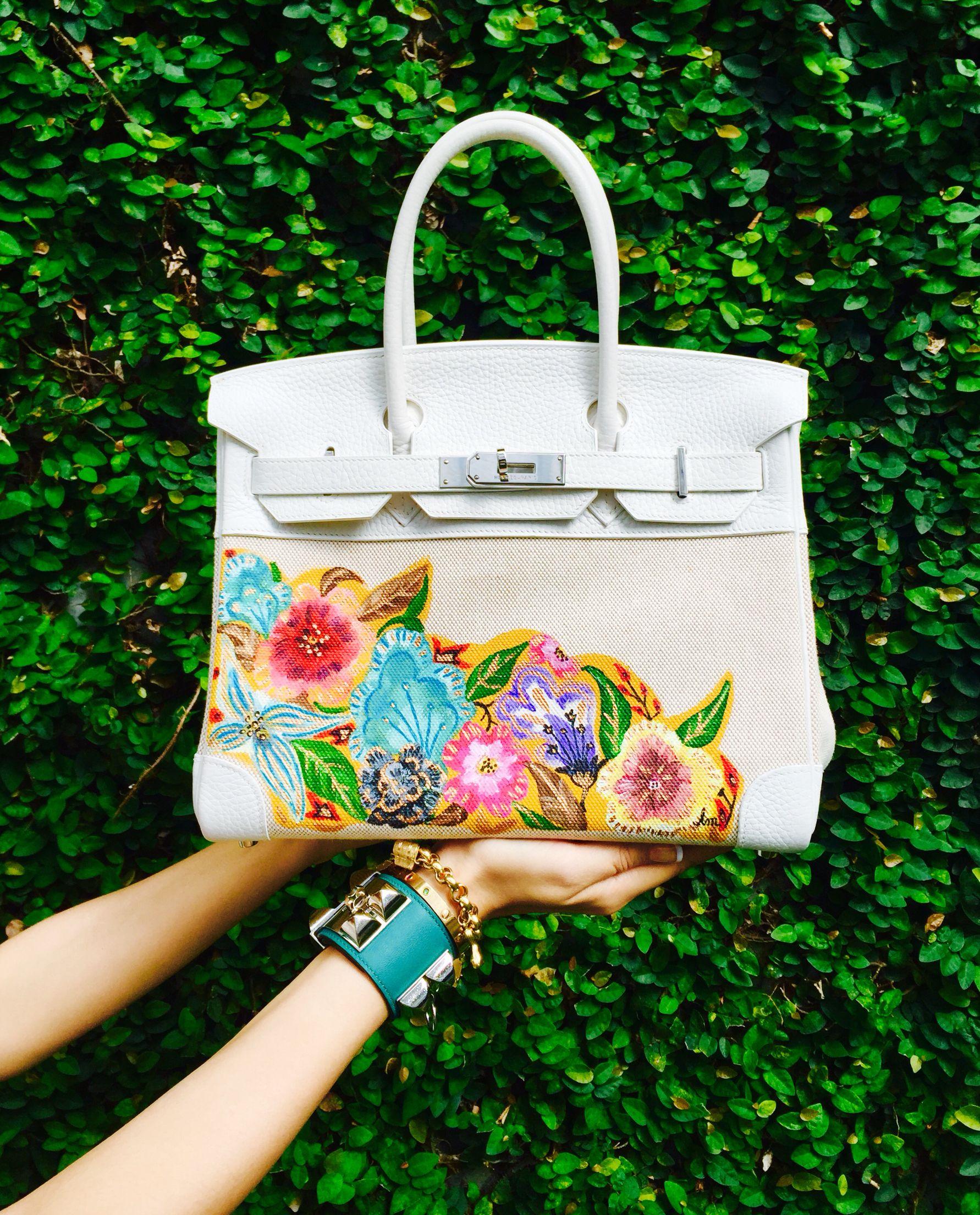 Hand Painted Hermes Birkin By Artist Love Marie Aka Heart Evangelista Escudero Painted Handbag Purses And Handbags Handpainted Bags