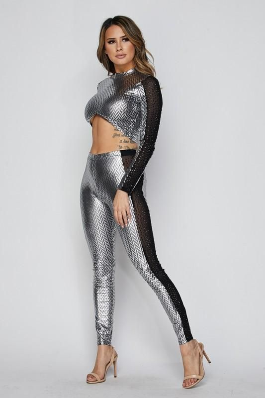 2c207c2d7c8cb Silver Mesh Detail Crop Top Legging Pant Set in 2019 | Two Piece ...