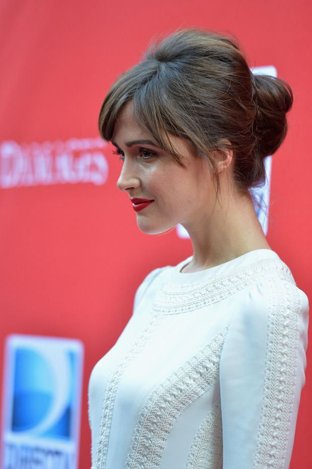 A More Relaxed Updo As Seen On Rose Byrne The Bride Bangs Updo