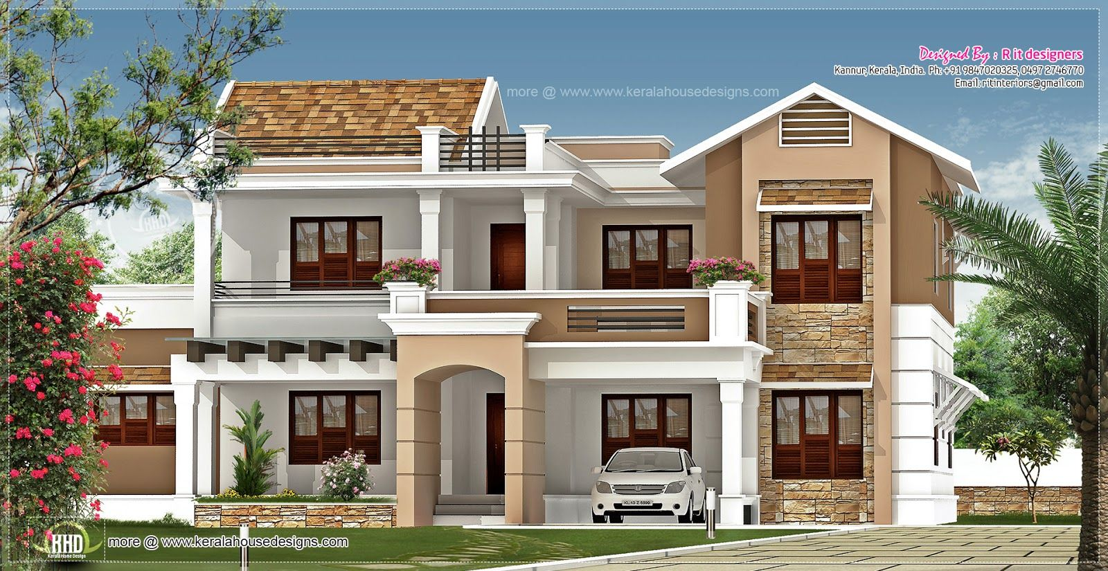 Simple Exterior House Designs In Kerala 800 square foot house exterior design | 347 square yards designed
