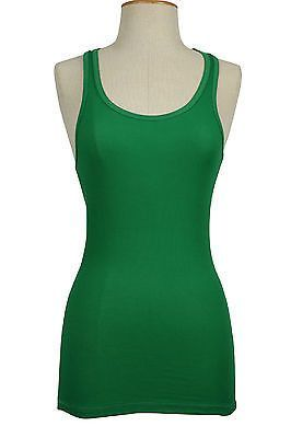 Basic Sports Scoop Neck Plain Ribbed Racerback Cami Stretch Long Tee Tank Top